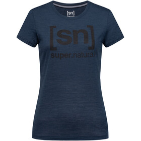 super.natural Essential I.D. T-shirt Femme, blue iris melange/jet black logo